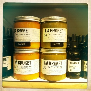 L:A Bruket scrubs on shelf