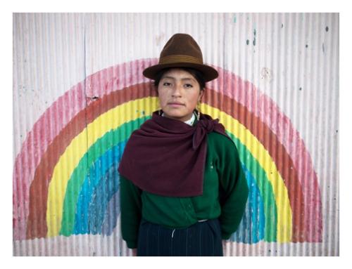 Quechua Girl and Rainbow in Ecuador
